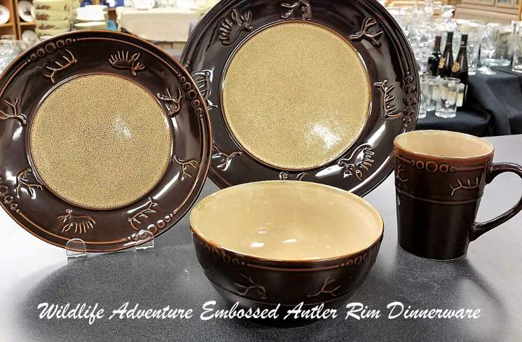 Wildlife Adventure Embossed Antler Rim Dinnerware